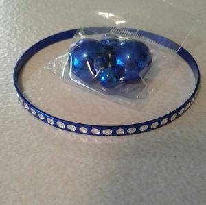 METALLIC BLUE DOUBLE SIDED EARRINGS AND BRACELET